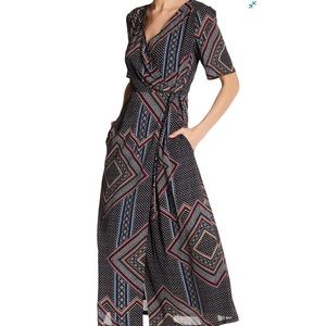 Lucca Couture Short Sleeve Midi Wrap Dress